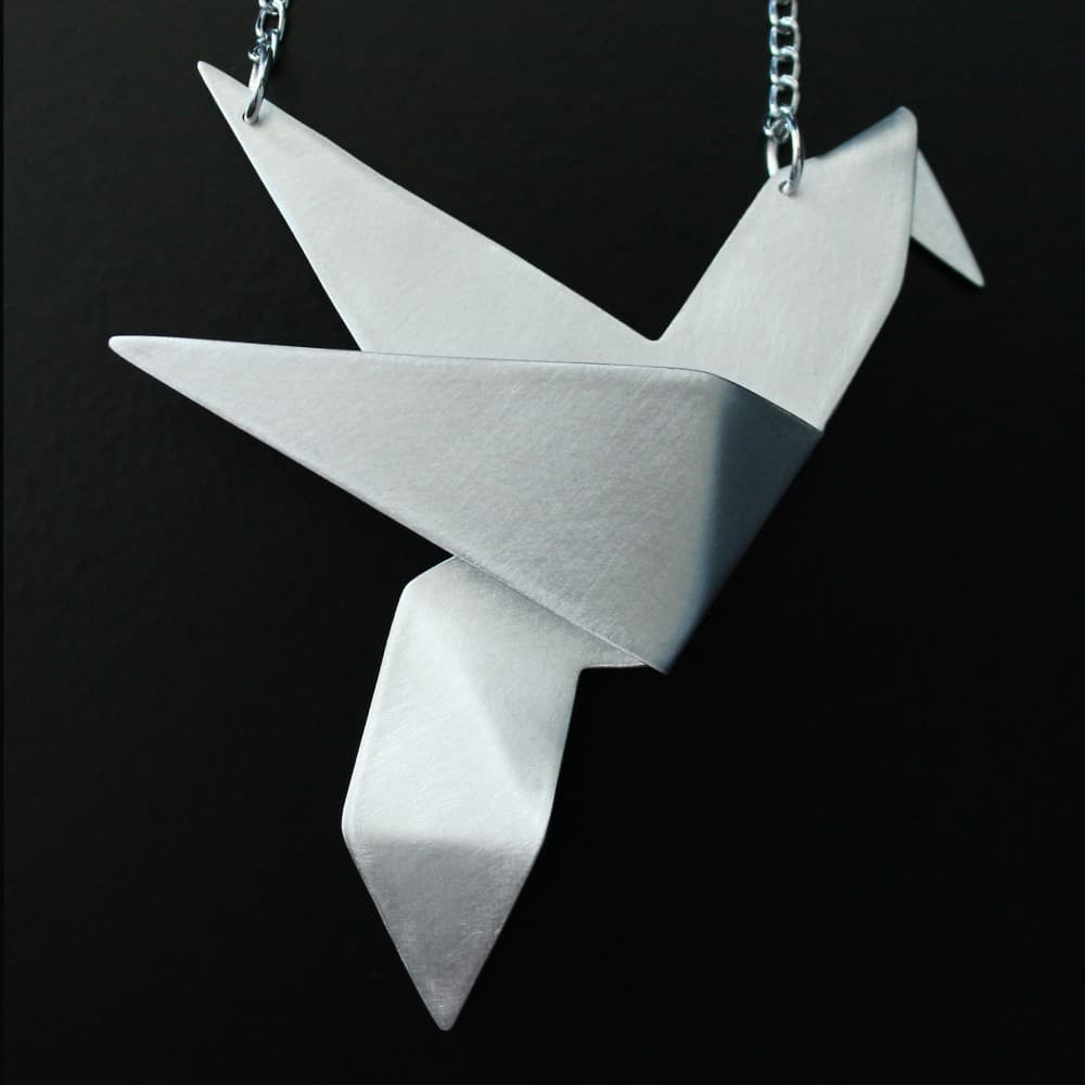 jewelry,necklace,handmade,metal,origami,bird