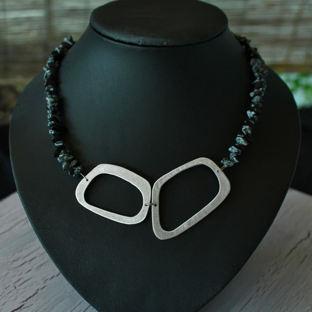 necklace, jewellery, Obsidian, semi precious stone, colour black, metal, handmade
