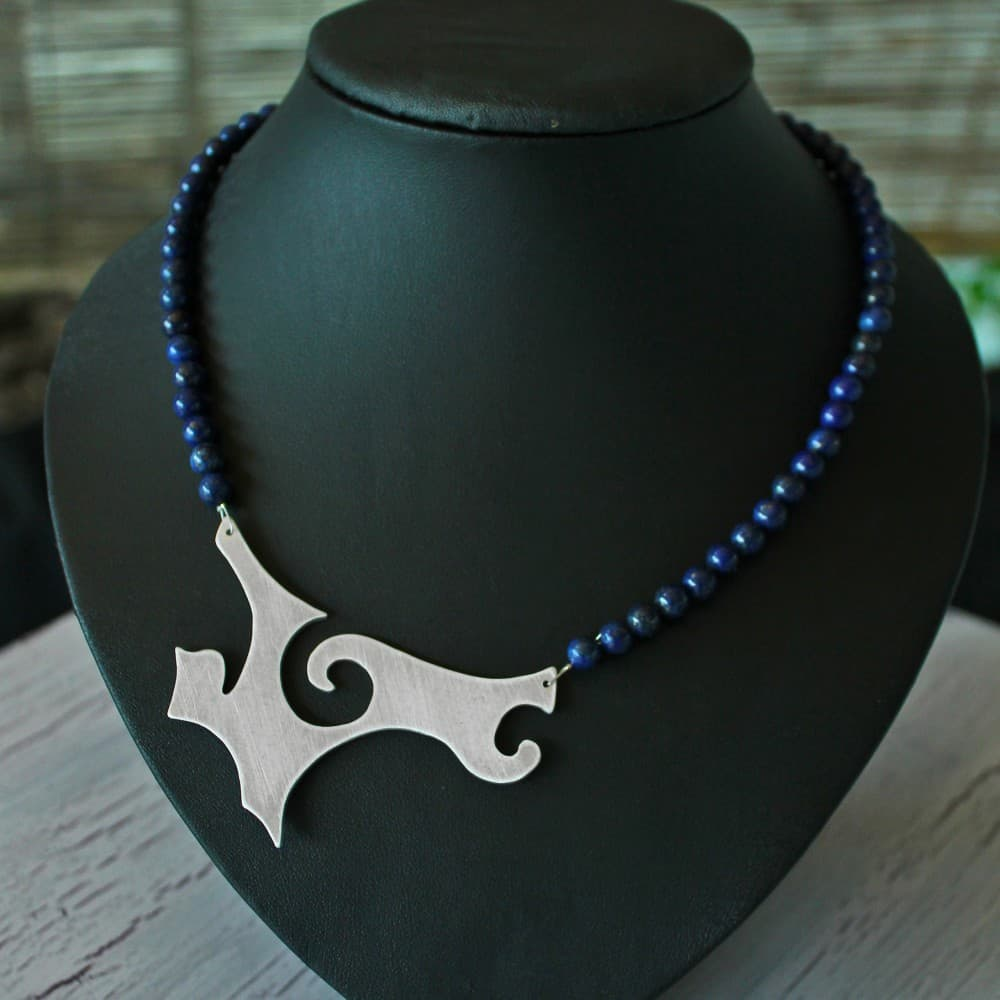 necklace, jewellery, lapis lazuli, semi precious stone, colour blue, metal, handmade
