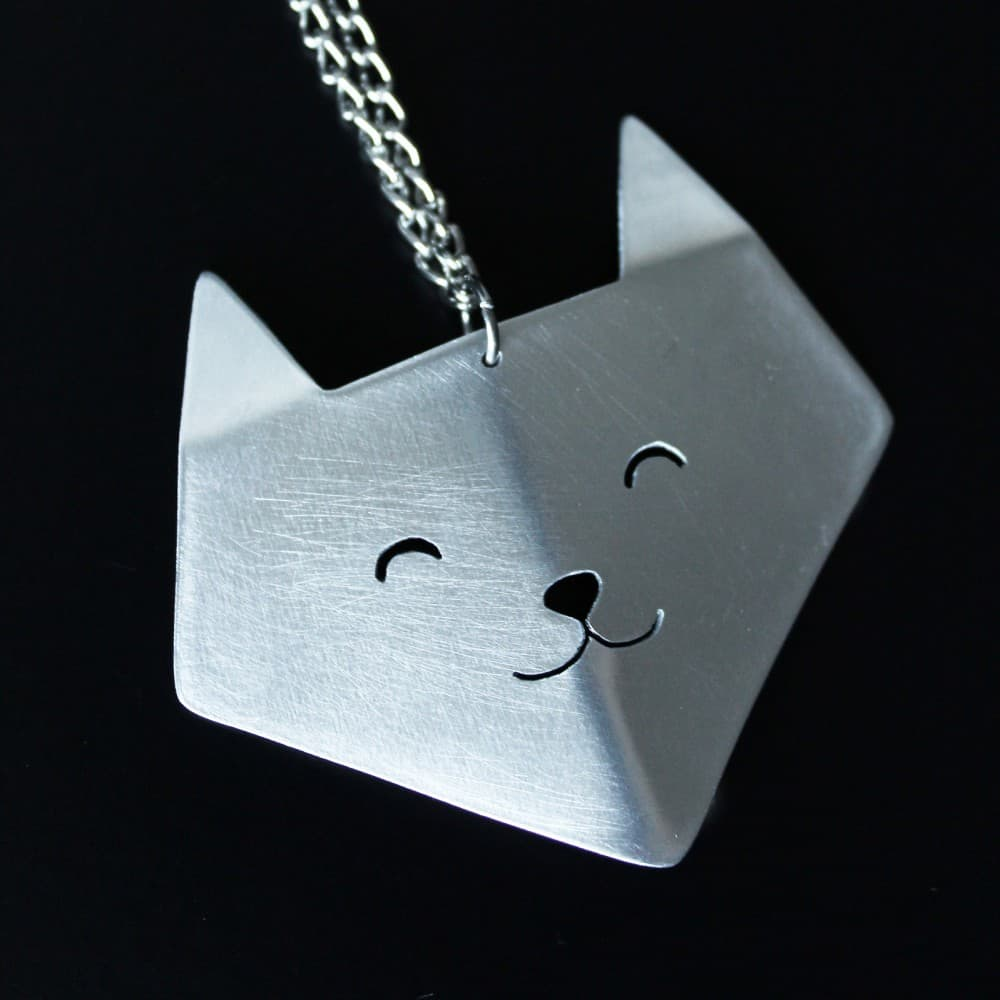 jewelry,necklace,handmade,origami,cat,metal