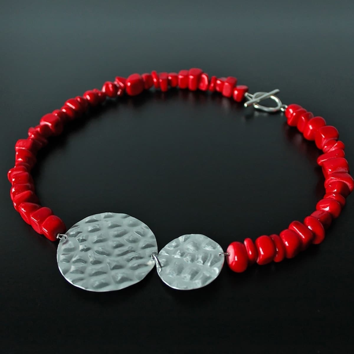 necklace, jewellery, jade, semi precious stone, colour red, metal, handmade