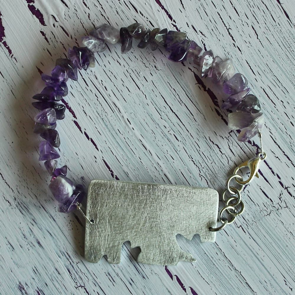 bracelet, jewellery, ametist, semi precious stone, colour purple, metal, handmade