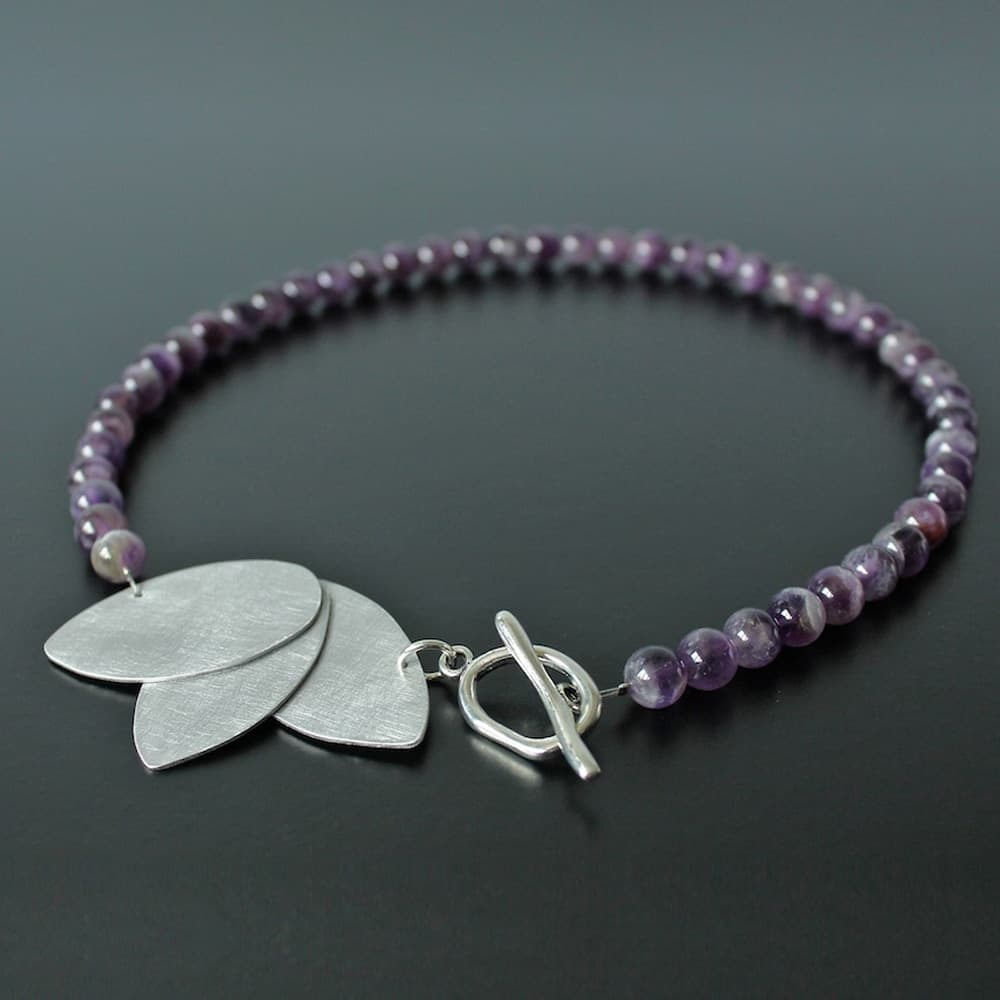 necklace, jewellery, ametist, semi precious stone, colour purple, metal, handmade