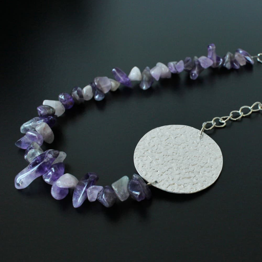 necklace,jewelry,metal,amethyst,semiprecious stone,handmade,fashion