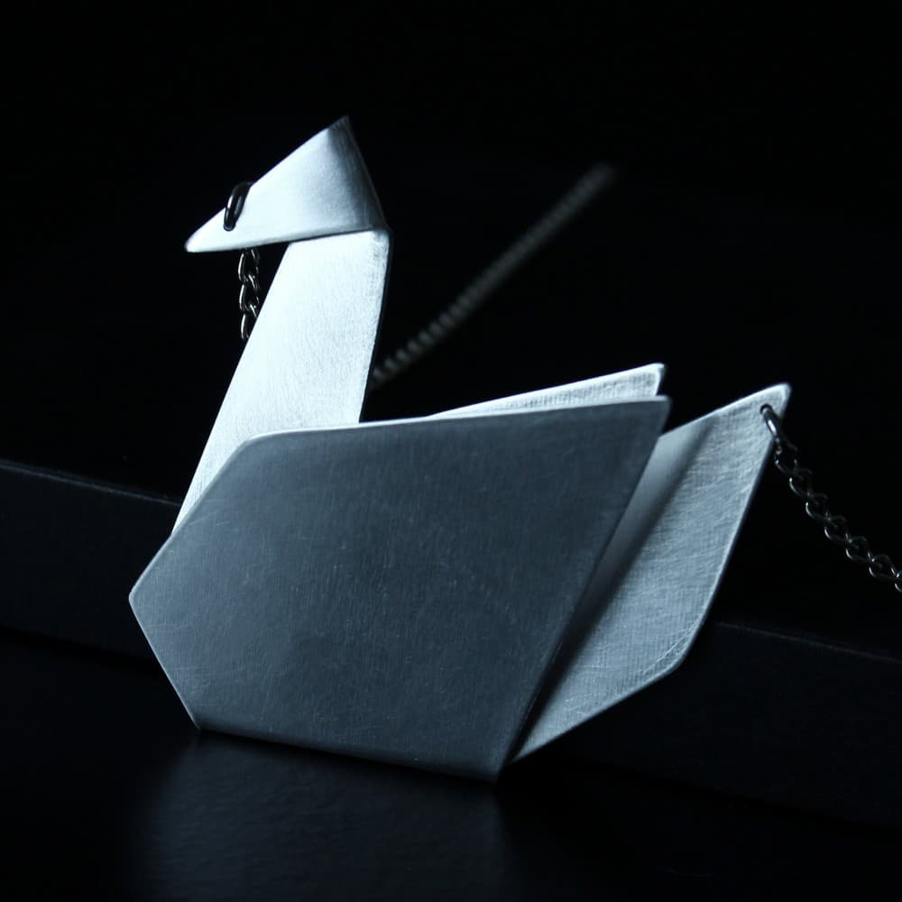 jewelry,necklace,origami,swan,metal,handmade